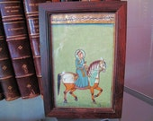 Miniature Painting on Paper of a Mughal Prince on Horseback Inset in the Lid of a Wooden Box, Vintage