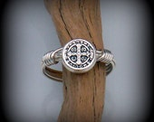 Saint Benedict wire wrapped ring - cross ring