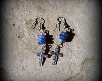 Blue Gemstone Dangle Earrings - Holy Trinity Earrings