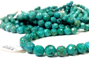 AA grade 6 mm Magnesite Turquoise Faceted Round Beads - Full Strand (MJ0600W25-BH)