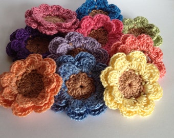 Crochet Flowers - 12 Layered Flowers, Mixed Colors
