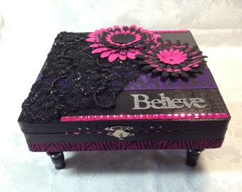 BELIEVE - Handcrafted Jewelry Keepsake gift Box - OOAK Girly Girl Pink and Black zebra pattern crystals beaded lace leather for her