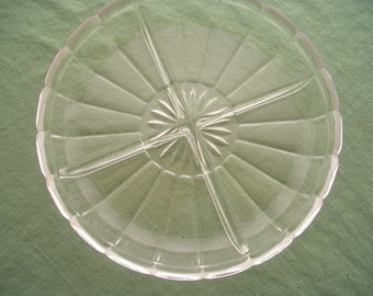 Vintage Pressed Glass 4 Part Divided Relish Tray Dish Serving Platter