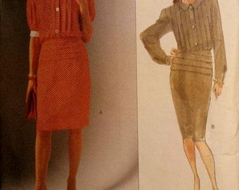 UNCUT, VOGUE 2501, American Designer Albert Nipon, Vintage 1990 designer dress with blouson bodice on a straight skirt; size Misses 8-10-12