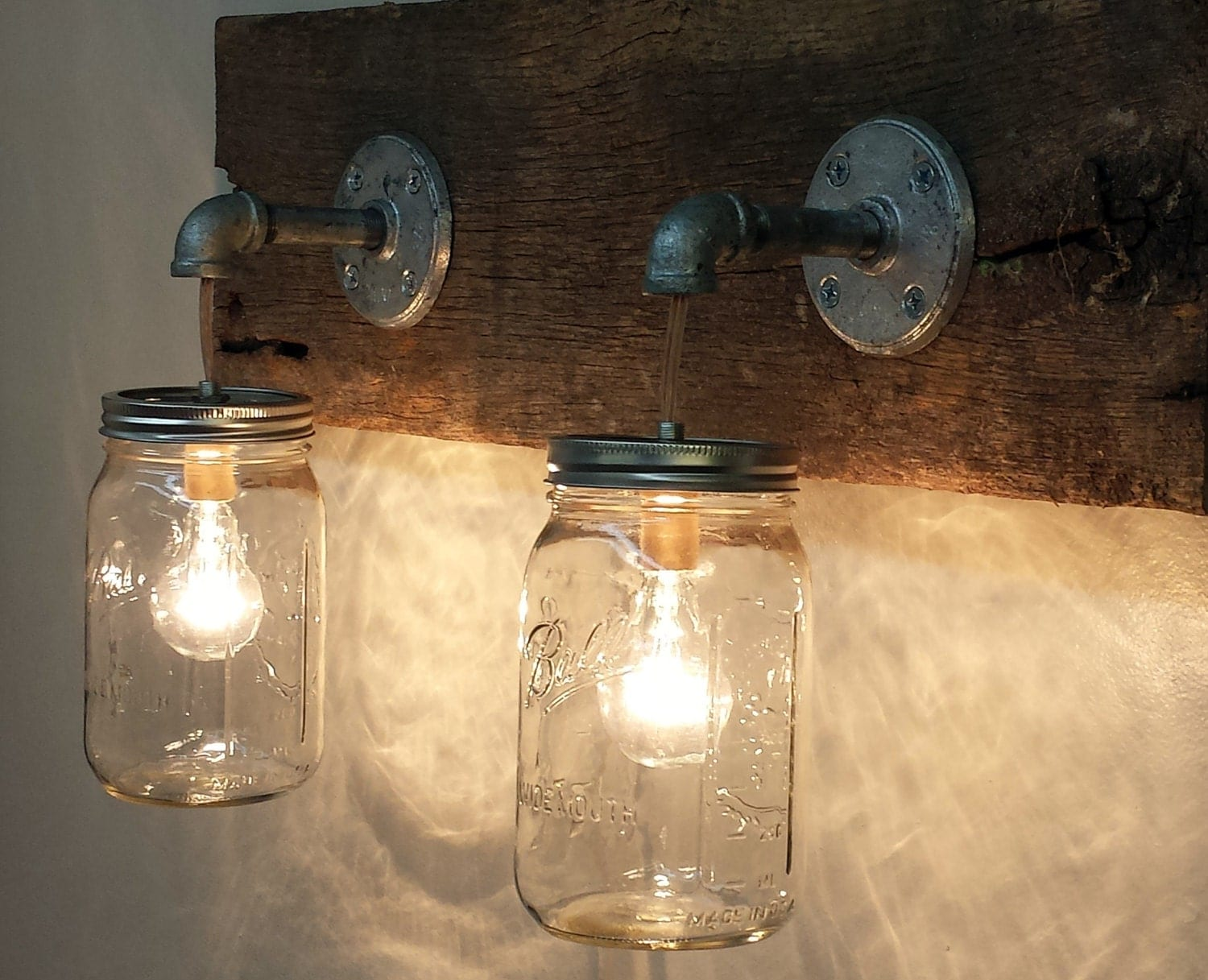 mason jar 2 light fixture rustic reclaimed barn wood mason jar. Black Bedroom Furniture Sets. Home Design Ideas