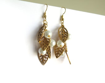 Leaves and Pearls Beaded Gold Earrings