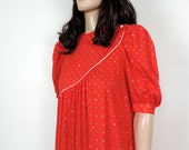 Vintage 80s Red Print Dress~ 1980s New Wave Boho Chic Vintage Dress~  Small