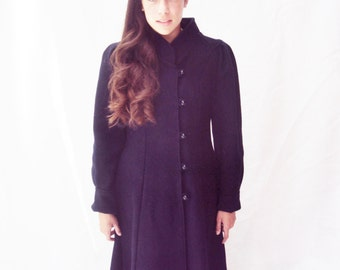 Navy Wool Coat Full Skirted small Union Label