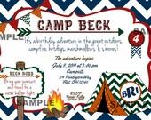 Camping Invitation Chevron Tent Camp Bunting Invite Birthday Printable Monogram Bonfire green navy orange red