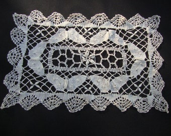 Vintage Cotton Lace Doily Ivory Doily Handmade Lace Cottage Decor Shabby Chic Butterflies Vintage Linens Handmade Lace Wedding Decor 99