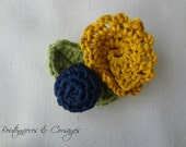 Crochet Boutonnieres & Corsages # 3 - crocheted flower ensemble - flower brooch navy and mustard