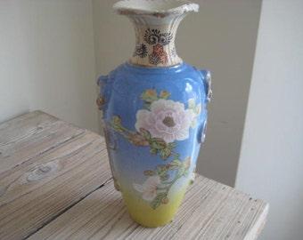 Blue White and Yellow Satsuma Pottery Vase