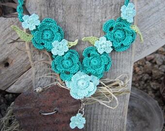 crochet crocheted flower necklace jewelry bridal bridesmaid jewelry crochet beaded necklacei jewerly