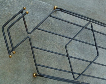 Metal Casserole Carrier Caddy Stand. Baking Dish Stand Trivet. Mid Century Modern. Black Gold. Vintage 1960s.