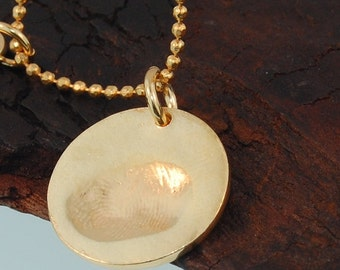 Fingerprint Gold Pendant 1.5 cm