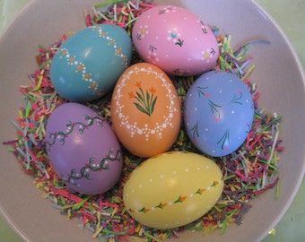 Hand-Painted Ceramic Easter Eggs (Set L1)- Hand Painted Easter Egg- Easter Egg-  Spring Decor