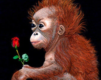 VALENTINE'S DAY, Note Card, Orangutan, Note Card, Orangutan Decor, Greeting Cards, Valentine, Ellen Strope