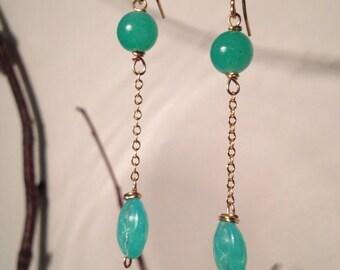 Sea green beaded dangle earrings