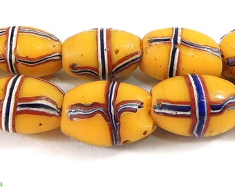 French Cross Venetian Trade Beads Yellow African 84418 SALE WAS 49