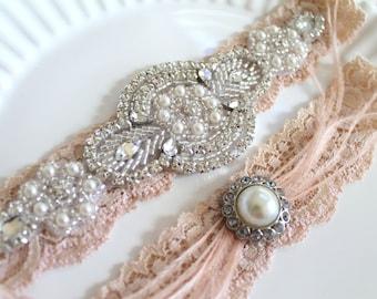 Bridal Gatsby Nude Beaded Applique Rhinestone Pearl Garter Set.  Ostrich Feather Crystal Blush Stretch Lace Wedding Garter set.  GATSBY LOVE