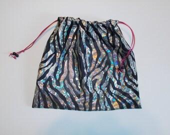 Gymnast GRIP BAG GYMNASTICS hologram metallic zebra w/ hot pink drawstring Birthday present gift -match to your team leotard color