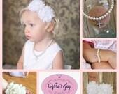 White christening set cross, headband, bracelet, necklace and sandals, shabby chic for baptism newborn, baby girl, toddler