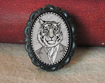 tiger brooch - small victorian style jewelry - black and white portrait