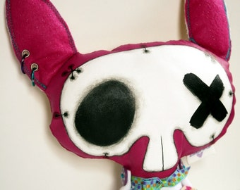 Art Doll Hand Painted Soft Sculpture The Original Handmade OOAK Zombie Bunny Oddling Skully McGaa