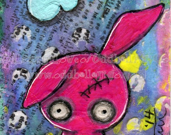 Zombie Bunny Giclee Art Print Signed Reproduction Zombiemania No.1 by Lizzy Love [IMG#132]