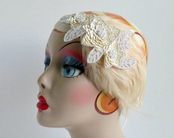 Glam 20s Wedding Ivory Gatsby Headband for Art Deco Dress Ivory Beaded Headpiece Feather Fascinator