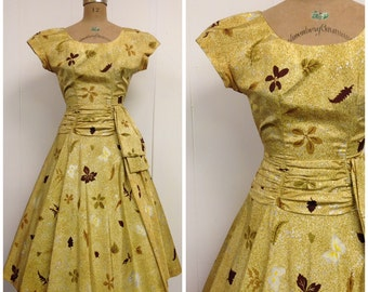 1950s Yellow Part Dress 50s Butterfly Novelty Print