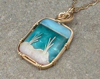 """Handmade Cloisonne Beach Scene Mini with REAL BEACH SAND Fired into the Sand Dunes Necklace Pendant in 14k gold fill on 16"""" chain"""