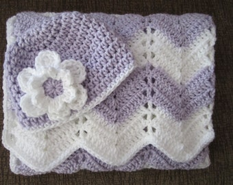 baby girl gift set, crochet baby blanket and hat gift set, lavender and white, photo prop, READY TO SHIP