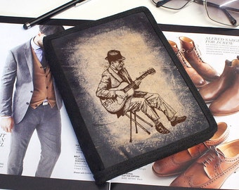 iPad & iPad Mini Leather Cover - Vintage Guitarist - Customizable - Free Personalization