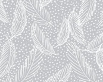 Snowy feathers crib sheet in gray and white