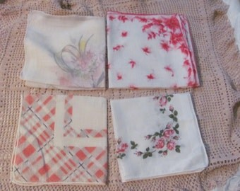 Hankies - Lot of 4 Colorful Floral Vintage Antique Handkerchief