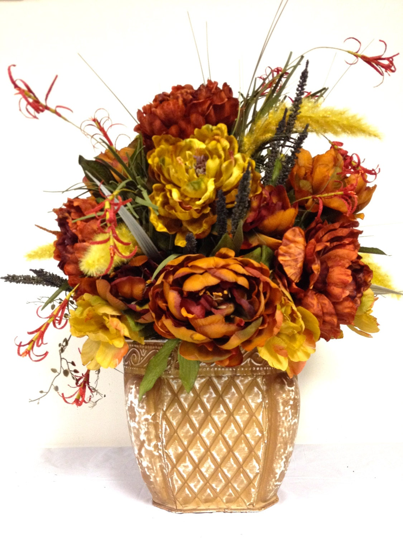Tuscan fall silk floral arrangement rust gold cream tole Fall floral arrangements