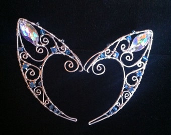 Wire Fairy Elf Ears with Marquise and  Aqua Blue Crystals -Fancy