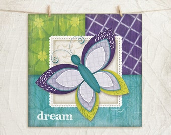 Whimsical Butterfly-Purple -Dream-12x12 Art Print - Nursery Decor -Childrens, Girls Decor -Decorative Patterns - Purple, Green, Teal, White
