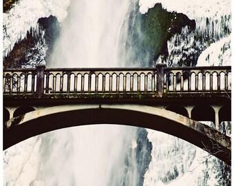 Multnomah Falls, Oregon, waterfall photography, bridge, 11x14 fine art print