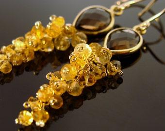 Smoky Quartz and Citrine 14 K Gold Filled Earrings