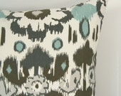 Ikat Decorative Throw Pillow Case, Cushion Covers 12x16, 12x18 or 16x16 - Shabby chic Decor - Floral Pillows in Taupe, Grey, Blue & Beige