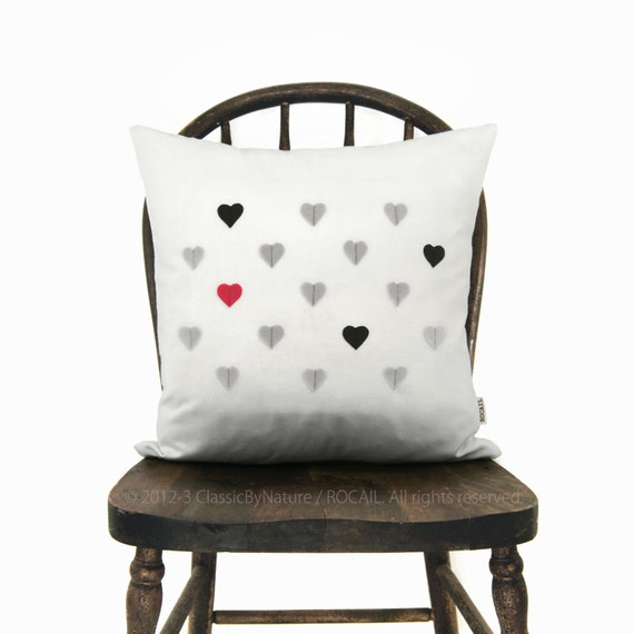 Tiny hearts pillow case, Valentine's day modern home decor, Love - Black, grey, red and white throw cushion cover in 16x16 / 40x40 cm