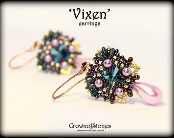 Bead pattern Beaded Earrings Tutorial Vixen with Superduo and Swarovski SPECIAL OFFER