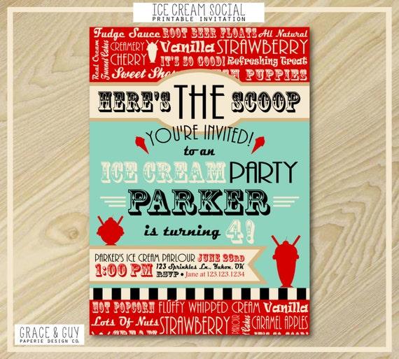 Ice Cream Party - Printable Birthday Invitation - Ice Cream Party Printables