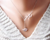 Silver Lariat Branch Necklace, Lariat Style Necklace, Liberty Branch Necklace, Silver Lariat Bird Necklace, Silver Lariat Leaf Necklace