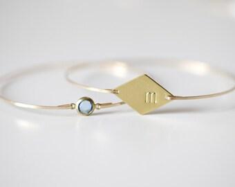 Set of 2, Monogram Bangle, Aquamarine Stone, Diamond Initial Bangle, Gold Initial Bracelet, Monogram Bracelet, Custom Initial Bracelet