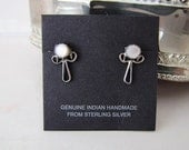 Vintage Little Angel Mother of Pearl Sterling Silver stud Earrings, Native American handcrafted