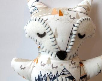 Fox Stuffed Animal - Teepees, Foxes and Trees Sleepy Fox Pillow - Nursery Decor