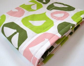 Organic Baby Blanket - Birds Too by Monaluna - Havana Collection - Pink Minky Dot - 26 x 30